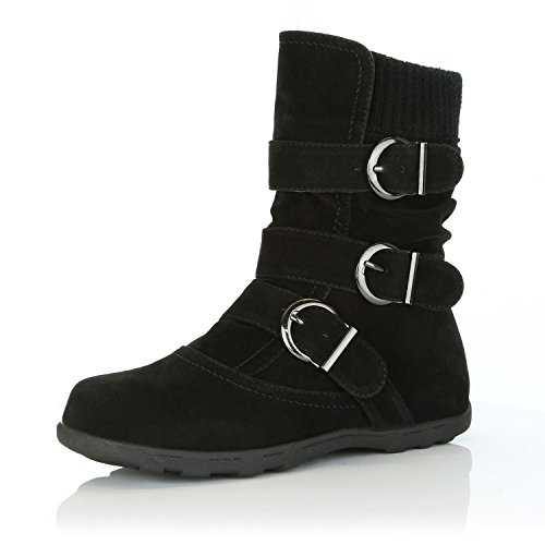 DailyShoes Womens Winter Snow Boots Buckles Warm Cozy Ankle Mid Calf Slouch