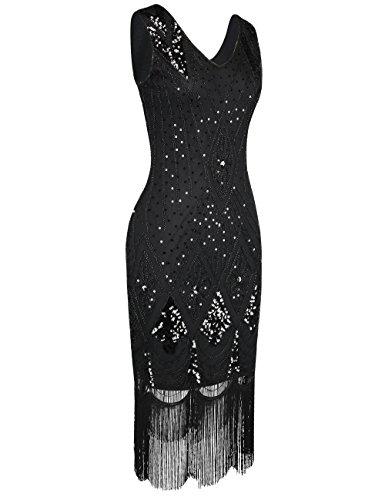 Da Prettyguide Art Deco Cocktail Vestito Flapper Nere 1920 Donne Paillettes Gatsby dqPt4qnB