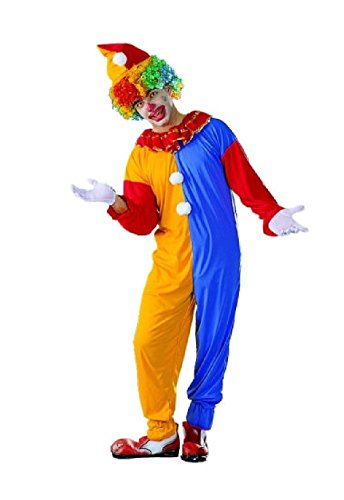 OvedcRay Clown Adult Costumes Red Yellow Blue Circus Clown Jester Man Jumpsuit Costume