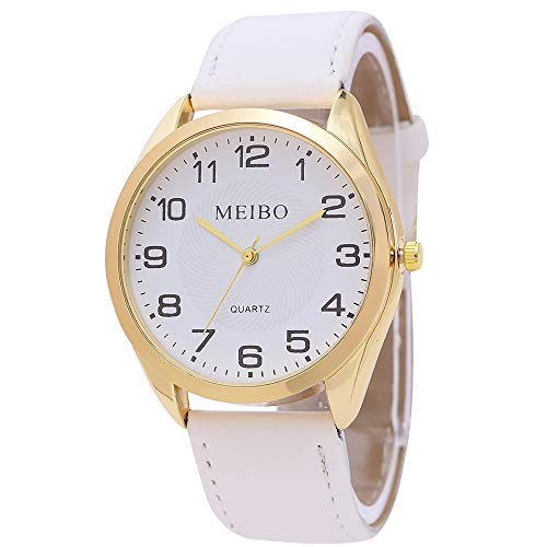 Women Quartz Watches Leather Strap Male Casual Wristwatch Relogio Masculino Ladies Watch Female Watch Sports Clock (White)