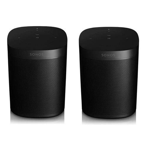 Sonos One 2 Pack (Gen 2) Smart Speaker with Built-in Alexa Voice Control, Wi-Fi, Black