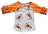 Big Girls' Halloween Unicorn Pumpkin Party Holiday Raglan Top T-Shirt Tee Kids Orange 8 XXXL (P201840P)