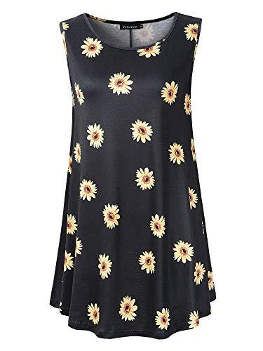 Veranee Women's Sleeveless Swing Tunic Summer Floral Flare Tank Top (XXX-Large, 6-32) -