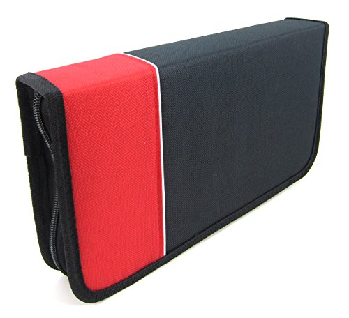 Elitexion 96 Capacity CD DVD Blu-Ray Media Folder Wallet Carrying Case - Red