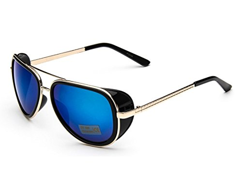 Caixia Unisex S005 Horn Rimmed Metal Frame Side Shield Aviator 58mm - Shields Side Aviator Sunglasses With
