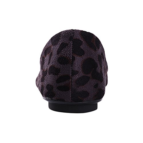 Alexis Leroy - Zapatos con brillo de Ballet planos con diseño sexy de leopardo para mujer Gris