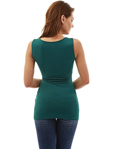 PattyBoutik Mujer Mamá zip frente imperio cintura maternidad top verde oscuro