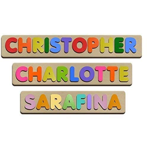 Bubble Fonts Personalized Wooden Name Puzzles Child's Name, Custom Made Puzzle From Wood -