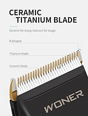 WONER Hair Clippers Cordless Rechargeable Hair Trimmers for Men Hair Cutting Kit Machine with 30 Lock-in Length, 2000mAh Lithium Ion with, 8 Guards, Oil