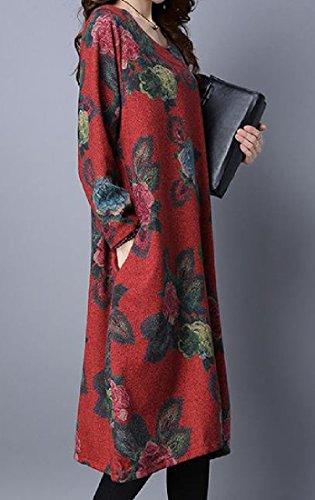 Confortables Femmes Poches Cavalières Occasionnels Rouge Robe Rétro Changement Floral À Manches Longues