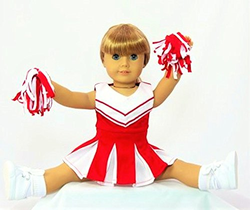 [Red and White Doll Cheerleader Outfit | Fits 18
