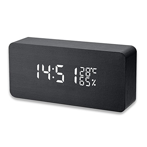 Wooden LED Digital Alarm Clock with 3 Levels Adjustable Brightness, Acoustic Control Electronic Clock with Time Temperature and Humidity-Black