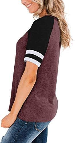 Guteidee Women's Short Sleeve Crewneck T-Shirts Casual Loose Stripes Color Block Tunic Blouse Tops Tee Shirts