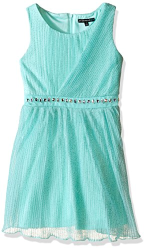 My Michelle Girls' Big Pleated Glitter Mesh Asymmetric Bodice Dress with Jeweled Waistband, Light Mint, 16