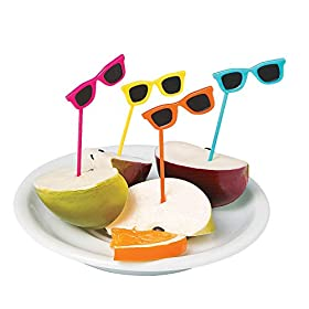 Fun Express – Sunglasses Plastic Picks (72pc) – Party Supplies – Serveware & Barware – Picks & Stirrers & Parasols – 72 Pieces