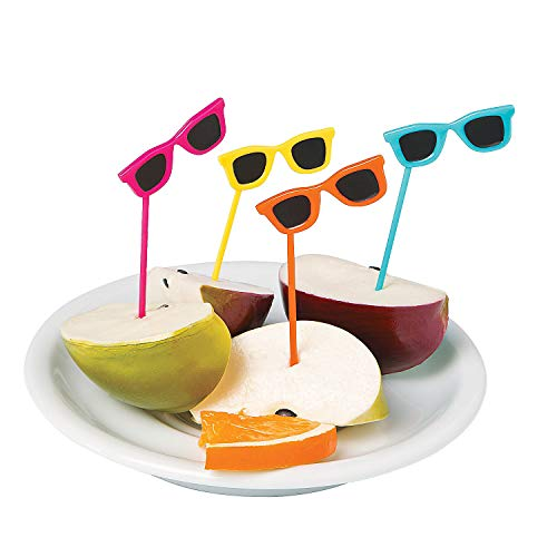 Fun Express - Sunglasses Plastic Picks (72pc) - Party Supplies - Serveware & Barware - Picks & Stirrers & Parasols - 72 Pieces