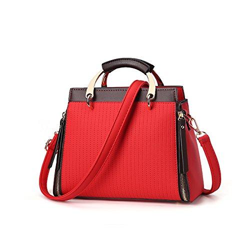 Tisdaini Mujer bolso de mano moda casual Salvaje bolso bandolera bolsas de marca Rojo
