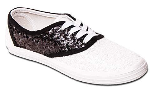 Women's Starlight Sequin Black & White Saddle Shoe Canvas Oxford Sneakers -