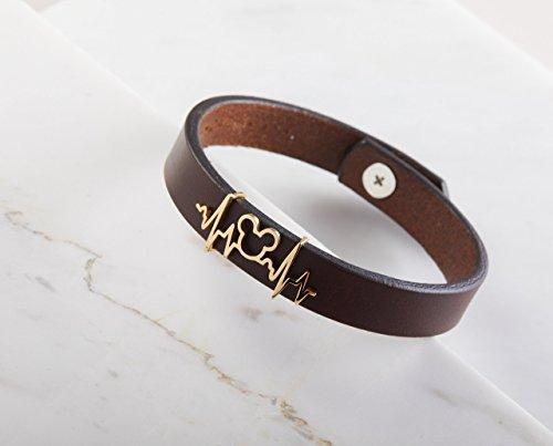 Personalized Disney Jewelry - CODE BLUE JEWELRY Disney Mickey Leather Bracelet | Personalized Disney Jewelry