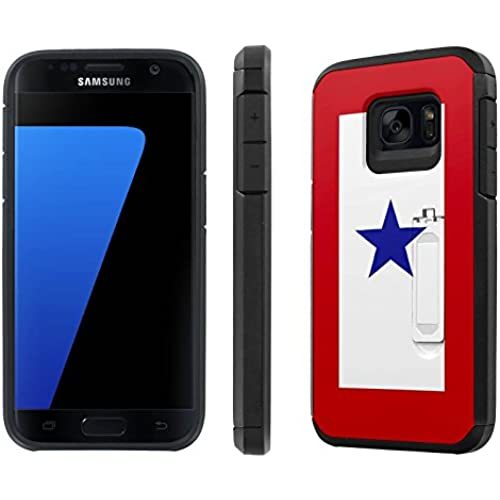 Galaxy [S7] [5.1 Screen] Defender Hybrid Case [SlickCandy] [Black/Black] Dual Layer Protection [Kick Stand] [Shock Proof] Phone Case - [Service Mother Blue Star] Sales
