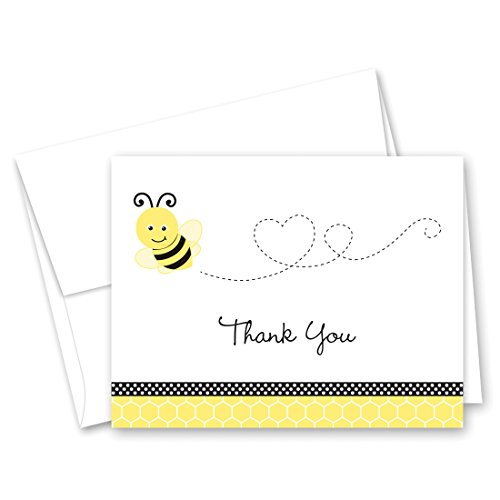 MyExpression.com 50 Cnt Adorable Bee Flying Heart Shape Thank You Cards -