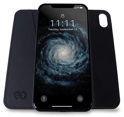 Design Bond - Dreem Bond Micro-Suction Wallet Folio for iPhone X & Xs, Ultra Slim Magnet-Free Design, Swanky Soft Vegan Leather, RFID Protection, Kick-Stand, Premium Gift-Box - Black