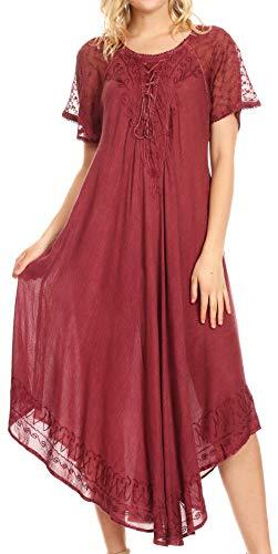 - Sakkas 16611 - Helena Embroidered Nightgown/Women Sleepwear with Eyelet Sleeves - Dusty Rose - OS