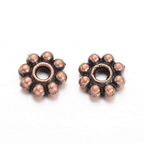 (Beadthoven 300pcs Tibetan Style Red Copper Plated Alloy Daisy Spacer Beads for DIY Bracelet Necklace Earring Jewelry Making Supplies 5x1.5mm)