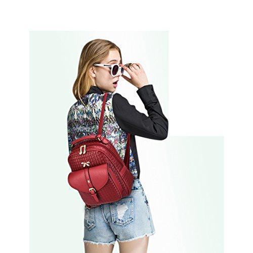 PU Mochila la la de para mochila moda viaje Tejeduría mujeres cuero Mini de de de las de compras Vino mujer para niñas escuela Rojo Coolives mochila wfzIqw