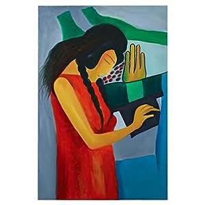 GrandUAE Canvas Multi Color Painting - Figure