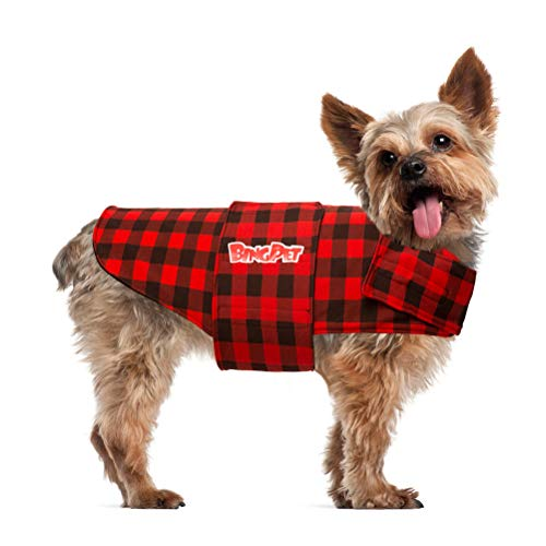 BINGPET Plaid Dog Anxiety Jacket Calming Vest Calming Wrap, Anti Anxiety and Stress Relief Anxiety Shirt for Thunder, Fireworks