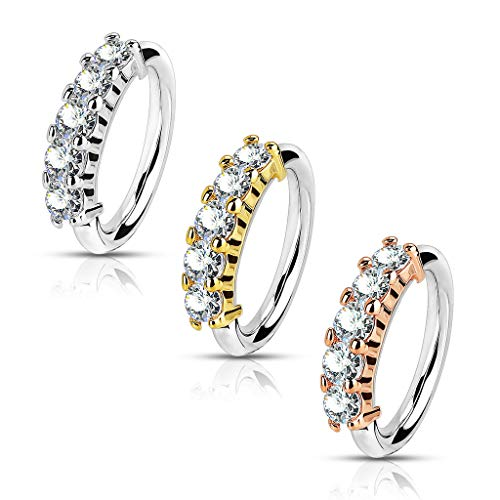 - SPARKLE XOXO Set of 3 Nose Hoops Bendable Rings with Five Prong Set Gems in 316L Surgical Steel 20g (Gold Rose Gold Silver)