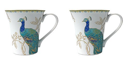 222 Fifth Peacock Garden Porcelain Coffee Mugs, Set of 2 by