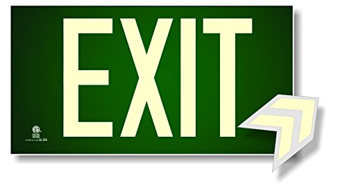 (Photoluminescent Exit Sign Green - Code Approved UL 924/IBC 2012/NFPA 101 2012)