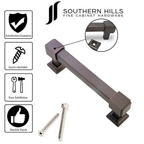 Southern Hills Oil Rubbed Bronze Drawer Pulls - 4 Inch Screw Spacing - Pack of 5 - Craftsman Style Kitchen Cabinet Handles SHKM010-ORB-5 by Southern Hills (Image #5)