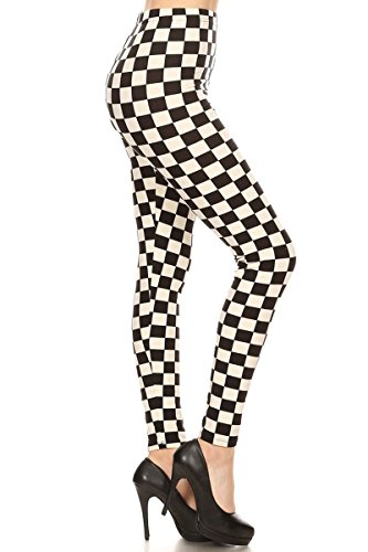 S534-PLUS B&W Checkered Print Fashion Leggings