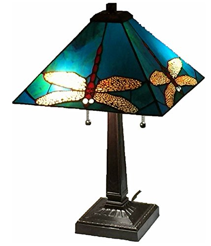 Tiffany Style Stained Glass Table Lamp Dragonfly