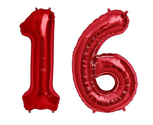 C-Spin 40 INCH Big Large 16 Red Number Foil Balloon 40