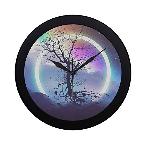 THKDSC Modern Simple Dead Tree Without Leaves Floating Front Wall Clock Indoor Non-Ticking Silent Quartz Quiet Sweep Movement Wall Clcok for Office,Bathroom,livingroom Decorative 9.65 ()