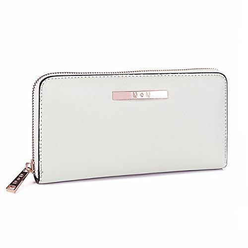 Womens Wallet Long Soft Leather Clutch Card Holder Zipper Purse(White) by U+U