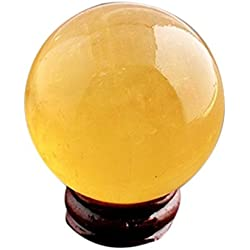 "Feng Shui Natural Citrine Crystal Sphere Ball 2"" +Stand and One Free Red String Bracelet Y1386"