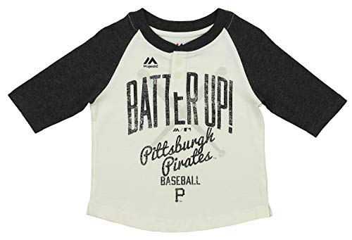 Outerstuff MLB Toddler's Batter Up 3/4 Sleeve Henley Tee, Pittsburgh Pirates -