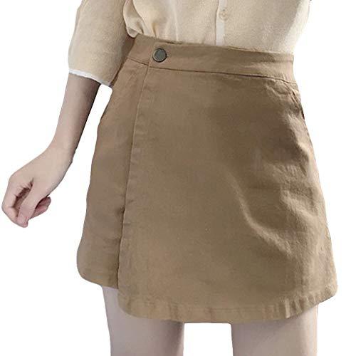 LiLiMeng 2019 Women Summer Leisure Shorts Culottes High Waist Pure Color Shorts Faux Pretend Skirt Shorts with Pockets Khaki