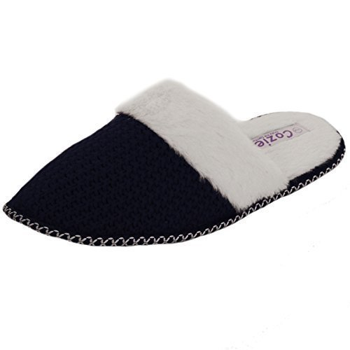 SAPPHIRE BOUTIQUE ® Womens Slip On Cosy Faux Fur Lined Knitted Mules Backless Closed Toe Slippers Navy LyLOb9rZg