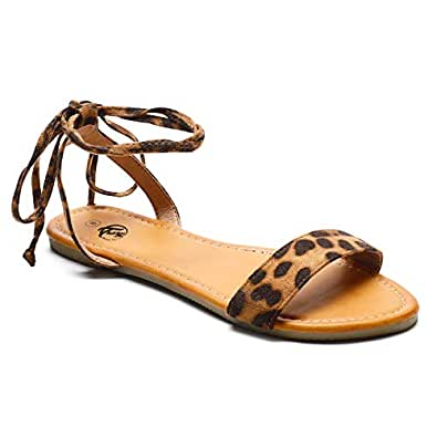 Trary Lace Up Ankle Strap Summer Open Toe Flat Sandals for Women Leopard 05