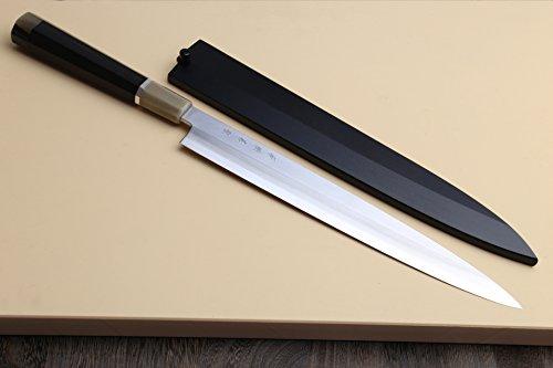 Yoshihiro R-2 Powdered Japanese Stainless Steel Yanagi Sashimi Chefs Knife 10.5 Inch by Yoshihiro