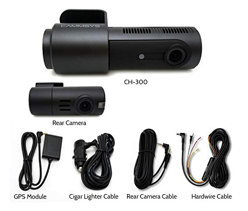 BlackSys CH-300 2 Channel Dash cam WiFi Front 2560 x 1440p Quad HD/Rear 1920 x 1080p Full HD, Night Vision, GPS, 32GB SD Card, Hardwiring Kit Included for Parking Mode ()