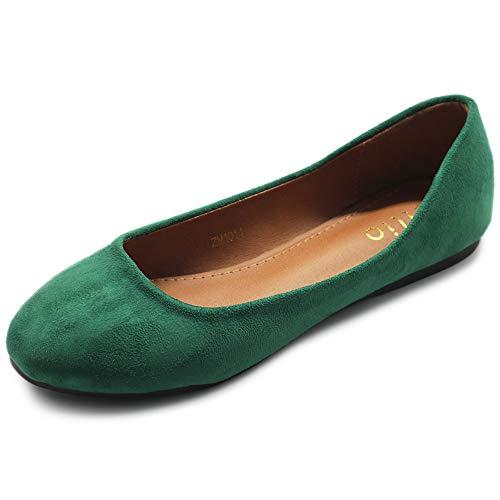 Ollio Womens Shoe Ballet Light Faux Suede Low Heels Flat