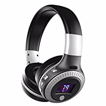 Bluetooth Headset, ELEGIANT Multifunction Bluetooth 4.0 Wireless Stereo Rechargeable Headphones with Digital Display Mic/FM Radio/TF SD Card Slot/3.5mm Audio AUX Compatible with all Bluetooth devices black and silver