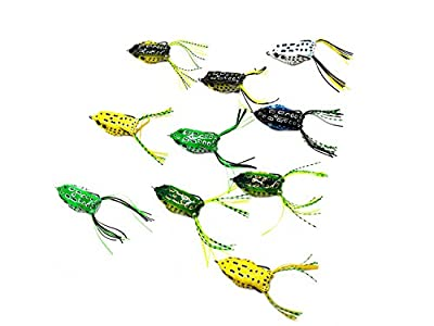 10PCS Topwater Frog Lures Kit,InnoFun Frog Lures Bait Set Lots for Bass Trout Salmon with 5PCS Fishing Leaders,Free Tackle Box